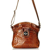 "Madi Claire ""Reba"" Croco Embossed Leather Crossbody Bag With Turn Lock"
