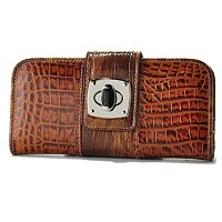 "Madi Claire ""Reba"" Croco Embossed Leather Wallet With Turn Lock"