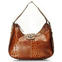 "Madi Claire ""Reba"" Croco Embossed Leather Hobo With Turn Lock"