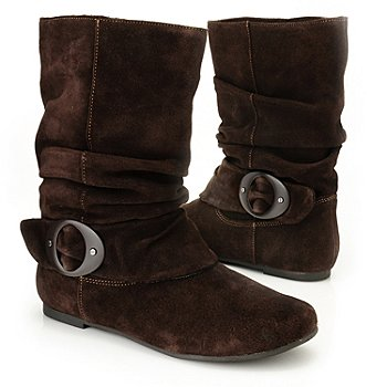 709-560 - Dr. Scholl's® ''Oakland'' Buckle Detailed Leather Slouch Boots