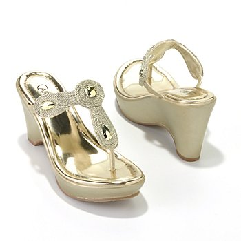 709-565 - Carlos by Carlos Santana ''Kona'' Metallic Wedge Thong Sandals