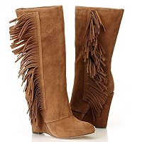 MIA Flirty Side Fringe Wedge Boot