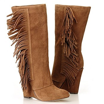 709-577 - MIA ''Flirty'' Fringe Detailed Suede Leather Wedge Boots