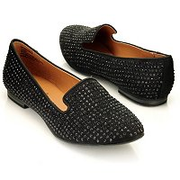 MIA Bedassle Rhinestone Smoking Slipper Inspired Loafer