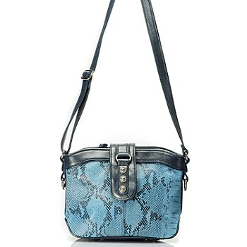 709-582 - Madi Claire ''Jaden'' Snakeskin Embossed Leather Cross Body Handbag