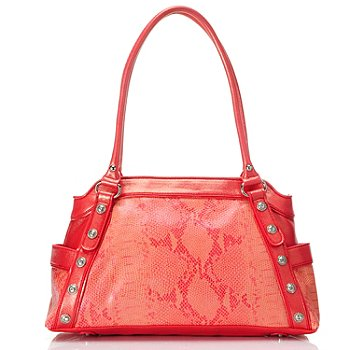 709-584 - Madi Claire ''Jaden'' Snakeskin Embossed Leather Satchel