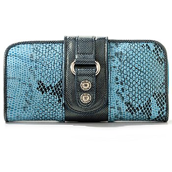 709-585 - Madi Claire ''Jaden'' Snakeskin Embossed Leather Wallet