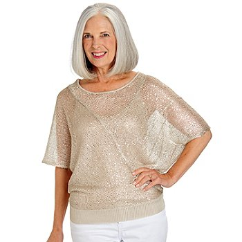 709-642 - One 7 Six Sequined Open Knit Dolman Sleeved Round Neck Pieced Sweater