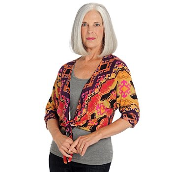 709-646 - One 7 Six 3/4 Dolman Sleeve Printed Tie Front Sweater