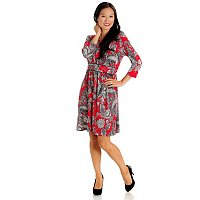 Adressing Woman Elbow Sleeve Floral Printed V-Neck Dress