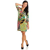Adressing Woman Elbow Sleeve Stretch Knit Faux Wrap Dress