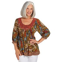 One World Rayon Challis Sequin Scoop Neck Top
