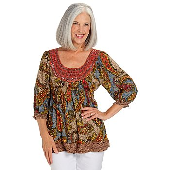 709-656 - One World Challis 3/4 Sleeved Sequin Accented Scoop Neck Top