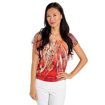 709-657 - One World Print Knit Flutter Sleeved Smock Bottom Notch Neck Top