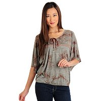 One World Tie Dye Heathered Embroidered Peasant Top