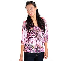 One World 3/4 Sleeve V-Neck Breast Cancer Awareness Top