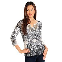 One Wold 3/4 Sleeve Lace Trim Notch Yoke Top