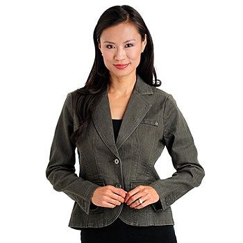 709-677 - OSO Casuals Stretch Twill Two-Pocket Notched Lapel Denim Jacket