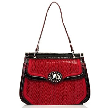709-685 - Madi Claire ''Lynne'' Snake Printed Leather Shoulder Bag