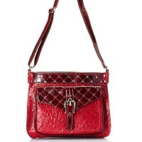 "Madi Claire ""Kristine"" Ostrich Embossed Leather Crossbody Bag"