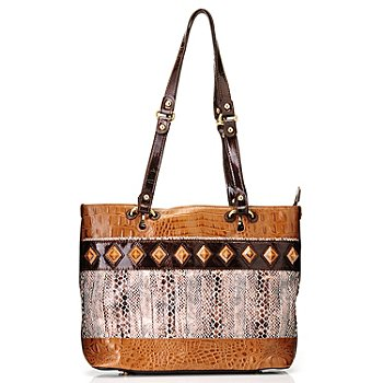 709-698 - Madi Claire ''Tanya'' Snake Printed Crocodile Embossed Leather Tote Bag