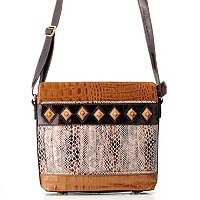 "Madi Claire ""Tanya"" Croco Embossed Leather Crossbody Bag with Snake Print"