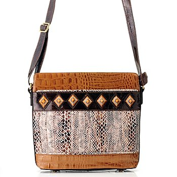 709-699 - Madi Claire ''Tanya'' Snake Printed Crocodile Embossed Leather Cross Body Bag