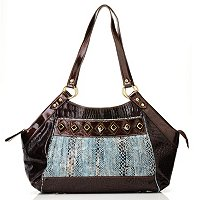 "Madi Claire ""Tanya"" Croco Embossed Leather Satchel"