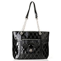 "Madi Claire ""Jennifer"" Patent Leather Tote with Quilted Stitching"