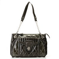 "Madi Claire ""Jennifer"" Patent Leather Shoulder Bag with Quilted Stitching"