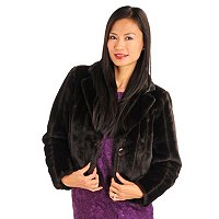 WD.NY Cropped Faux Mink Fur Coat