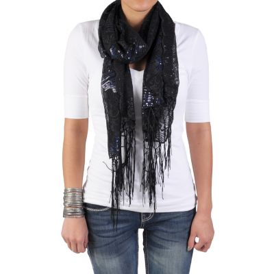 709-729 - Hailey Jeans Co. Women's Sequined Fringe Detail Scarf