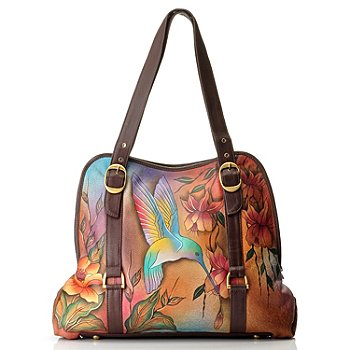 709-739 - Anuschka Wide Entry Hand Painted Leather Large Tote Bag