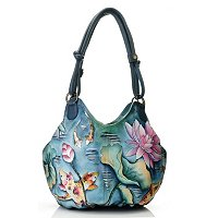 Anuschka Hand Painted Leather Ruched Box Hobo