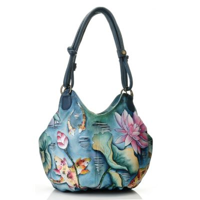 709-740 - Anuschka Hand-Painted Leather Ruched Box Hobo Bag