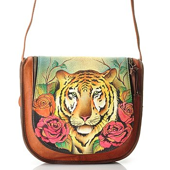 709-742 - Anuschka Hand Painted Leather Zip Around Flap Saddle Bag