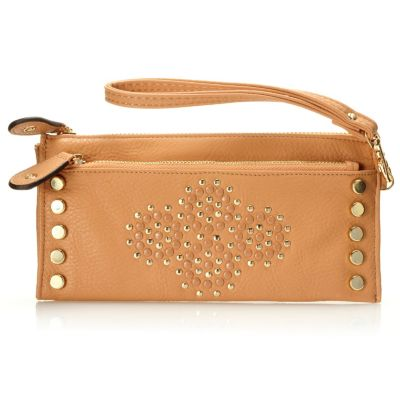 709-795 - Nicole Lee Studded Zip Top Wallet w/ Removable Wristlet Strap
