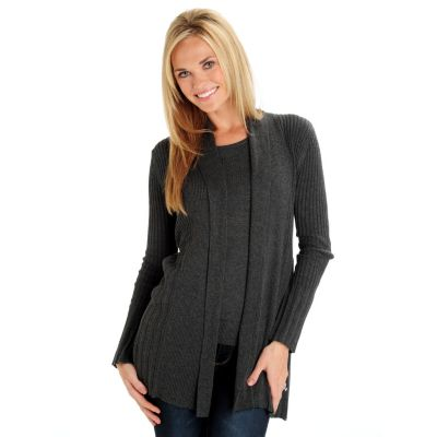 709-799 - Leo & Nicole Rib Knit Open Front Pleated Cardigan & Tank Sweater Set