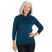 Leo & Nicole 3/4 Slv. Textured Cowl Neck Cotton Bamboo Sweater