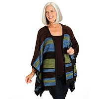 Leo & Nicole Stripe Blanket Open Front Sweater