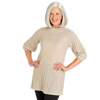 709-811 - Leo & Nicole Elbow Sleeved Crew Neck Ribbed Tunic Sweater