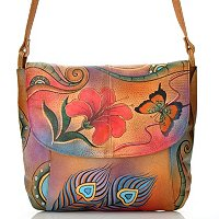 Anuschka Hand Painted Leather Front Flap Cross Body Bag