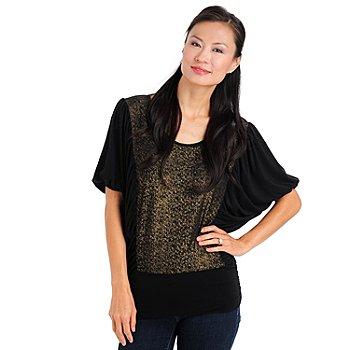 709-913 - Olivia & Grace Scoop Necked Foil Accented Batwing Top
