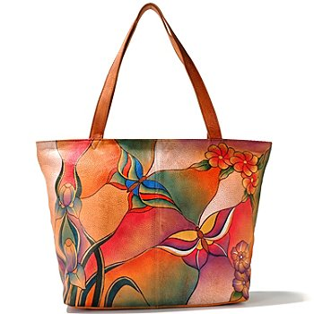 709-918 - Anuschka Zip Top Hand Painted Leather Large Tote Bag