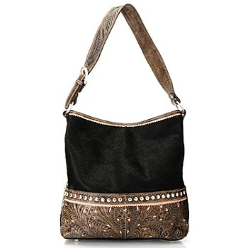 709-919 - American West Hand-Tooled Leather & Cowhide Shoulder Bag