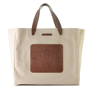 709-942 - PRIX DE DRESSAGE Front Pocket Leather Detailed Canvas Tote Bag