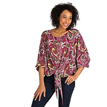 709-945 - Kate & Mallory Stretch Knit Dolman Sleeved Tie Front Poncho Top