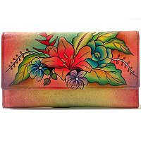 Anuschka Hand Painted Multi-Pocket Wallet