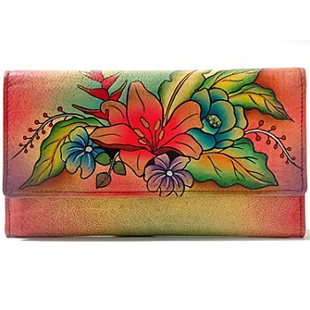 709-969 - Anuschka Hand Painted Leather Multi Pocket Trifold Wallet