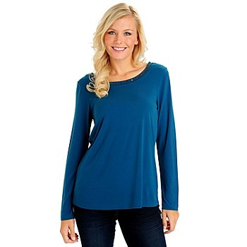709-973 - Love, Carson by Carson Kressley Stretch Knit Boat Neck w/ Cowl Back Top